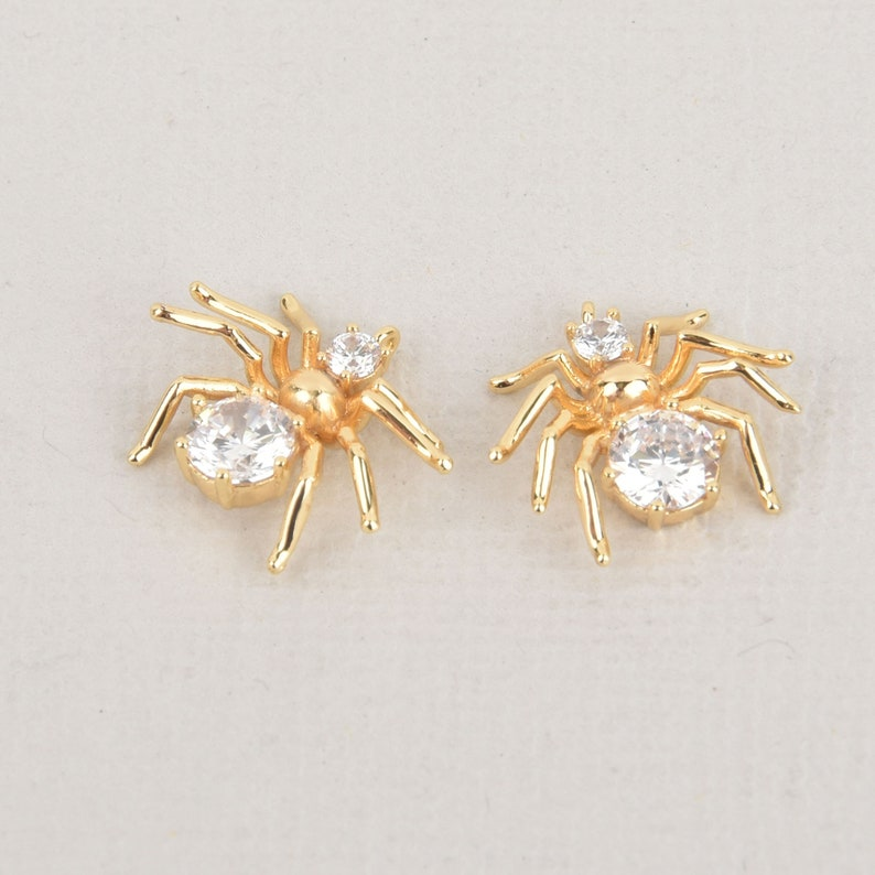 2 Gold Spider Charms with Rhinestone Crystals chs6778 15mm