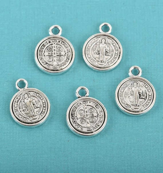 5 Light Gold Relic Charms religious medal chs3948 Blue Verdigris Patina
