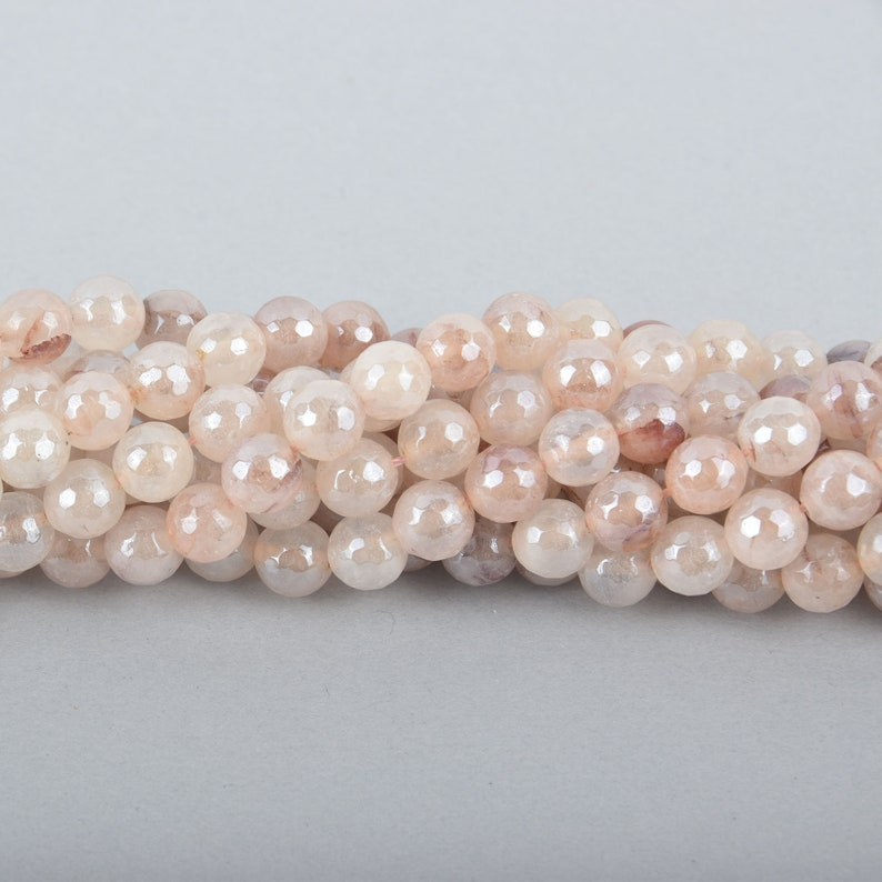 Round faceted gemstone agate 47 beads gem0047 8mm BLUSH PHANTOM QUARTZ Beads
