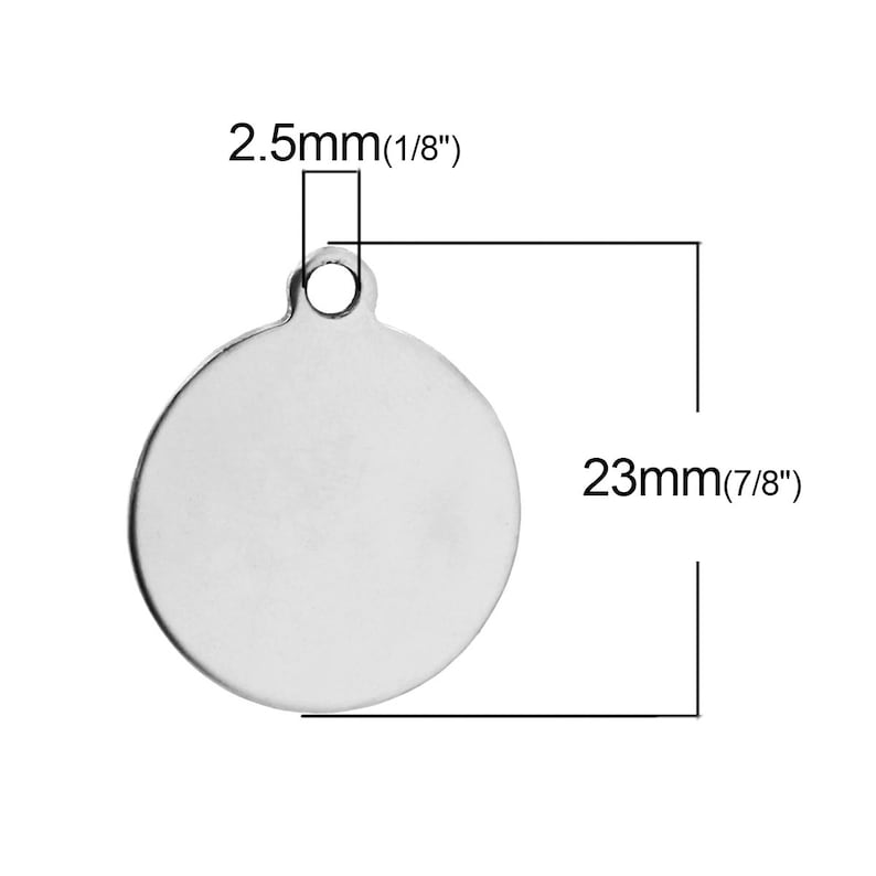 Pendants 20mm dia. about 34 Jewelry Tags 5 Silver Stainless Steel Round Stamping Blanks msb0303
