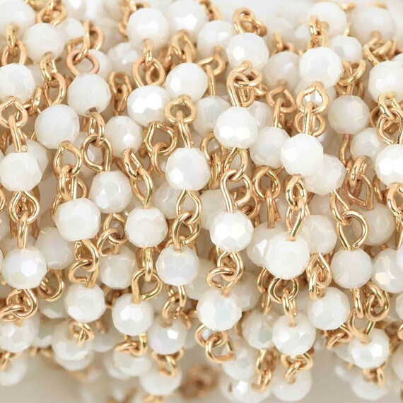 5 Yard 4mm pearls linked chain for custom jewellery craft wholesale