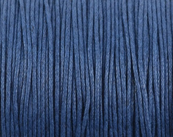 1mm Jewelry Cord, DARK BLUE, Kumihimo Cord, Braiding Cord, Cotton Cord, Wax Cord, 100 yards, cor0144