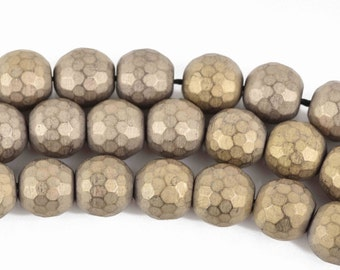 10mm Matte Hematite Round Beads, LIGHT GOLD Titanium Coated Gemstone Beads, faceted, full strand, 43 beads, ghe0139
