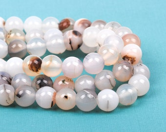 10mm Round WHITE CHOCOLATE AGATE Beads, non-faceted, full strand, about 38 beads, Natural Gemstones gag0153