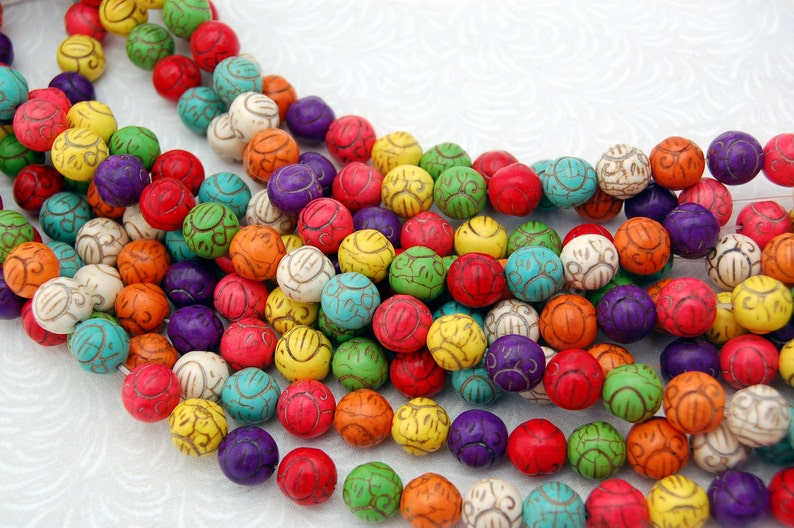 mixed colors how0199 11mm Synthetic Howlite Stone Beads CARVED SCROLL ROUND  11mm