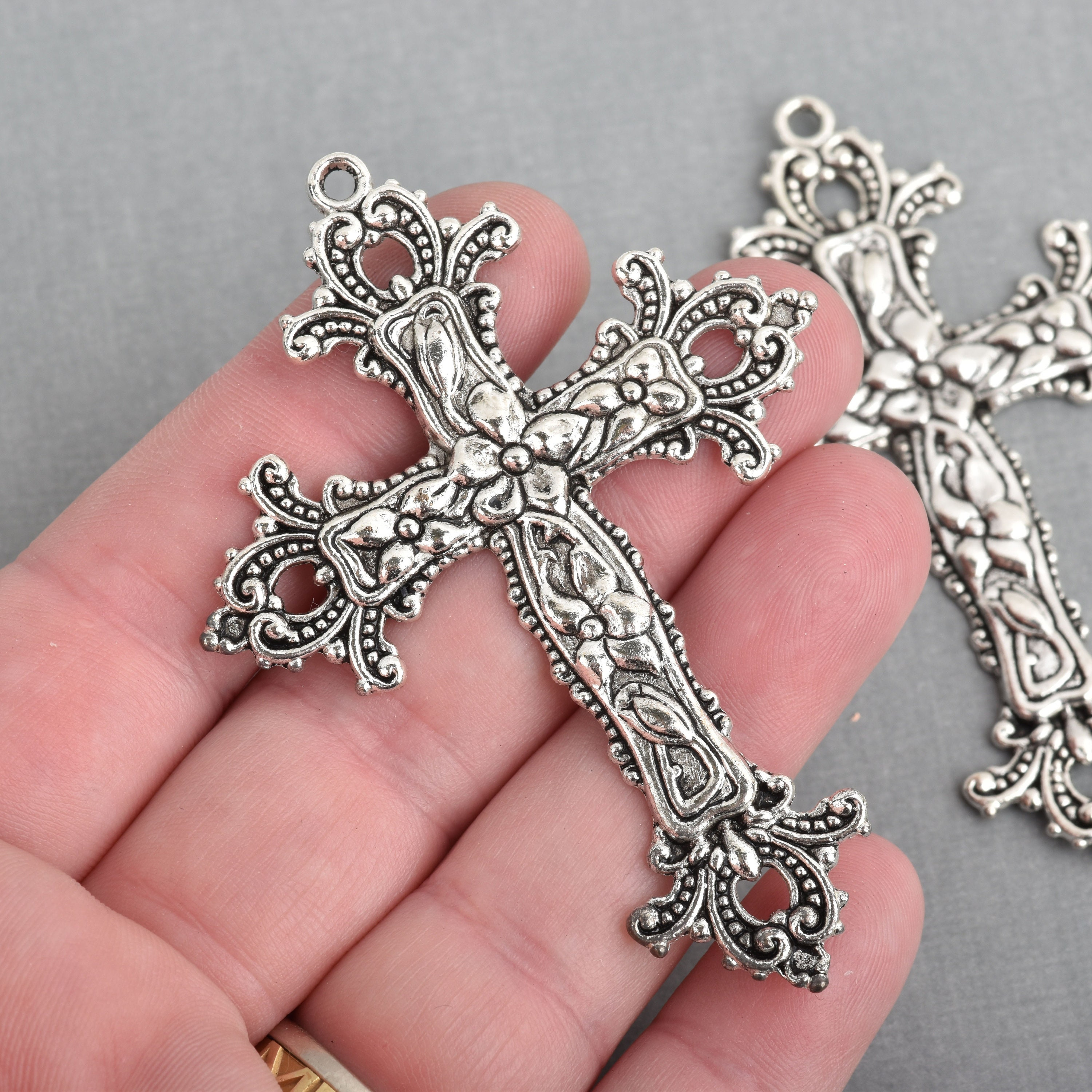 2 large silver cross pendants ornate floral and flourish detail 2 large silver cross pendants ornate floral and flourish detail 75x55mm chs4211 aloadofball Image collections