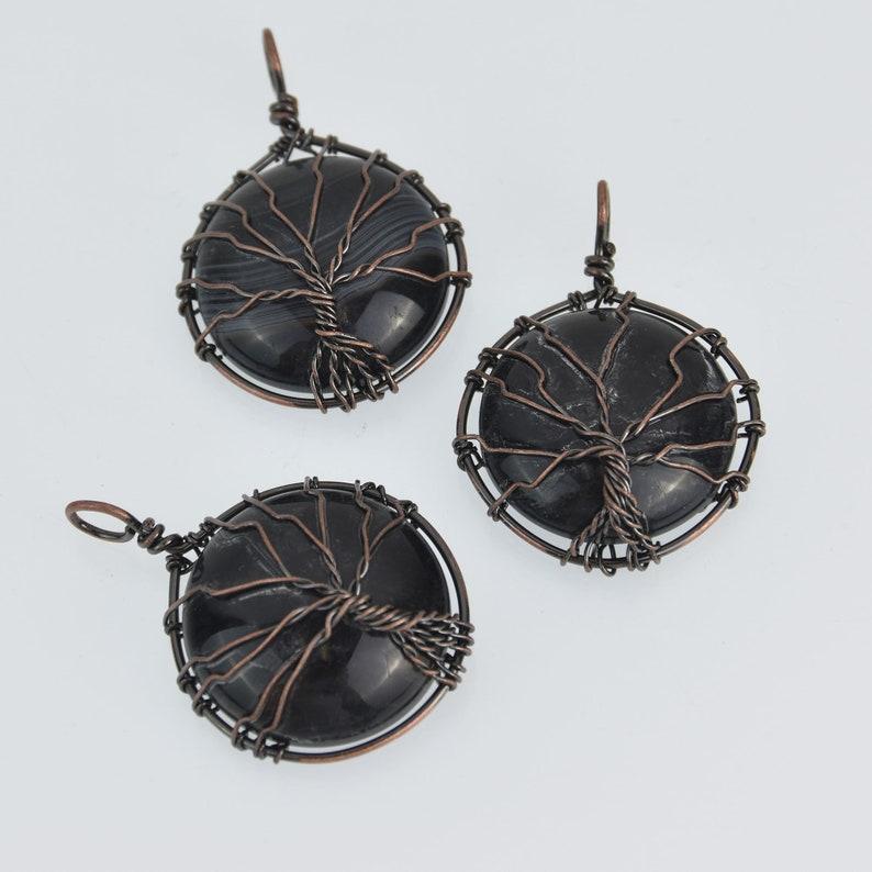 Copper Wire Wrap Black Agate Tree Pendant chs7127