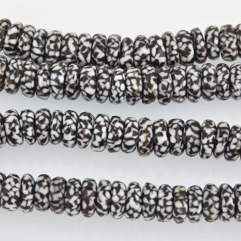 10mm to 12mm Black and White Glass Rondelle African Trade Beads Recycled Glass x25 beads bgl1859