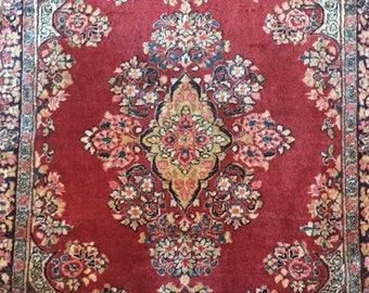 3x5FT Antique Handmade Kerman Wool Collectible Area Rug