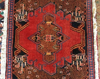 2x3 FT Antique Collectible Handmade Wool Oriental Bohemian Rug