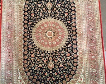 3x5FT Hand Knotted Silk Authentic Collectible Rug Qum Hereke Design