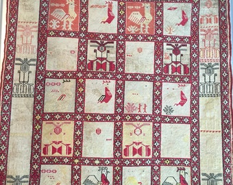 SOLD 3x5 FT Collectible Handwoven Silk Tapestry Needlepoint Soumak Kilim
