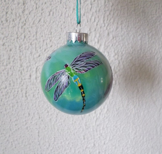 Dragonfly ornament hand painted Christmas ornament blue   Etsy