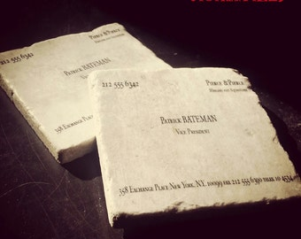 American psycho etsy patrick bateman murders executions business card tumbled marble coaster single set of 2 or 4 american psycho colourmoves