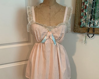 """Plus size vintage """"Desiree"""" Barbizon upcycled nightgown repurposed as camisole- vintage tag size 16- size XL"""