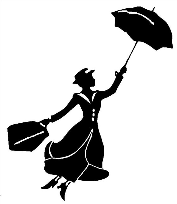 mary poppins coloring pages already colored | Mary Poppins Nanny Vinyl Decal Sticker Car Window | Etsy