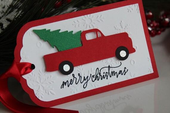Christmas Gift Tags To Make.Red Truck With Tree Holiday Gift Tags Christmas Truck Gift Tags Snowflake Embossed Handmade Christmas Gift Tags Merry Christmas