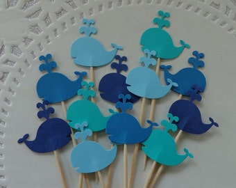 """24 Whale Cupcake Toppers - Food Picks - NEW Larger Size 1.5"""" - Party Picks - Nautical Baby Shower - Birthday Party"""