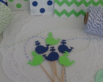 """24  Whale Cupcake Toppers - Navy Blue and Lime Green- NEW Larger Size 1.5""""  - Baby Shower - Birthday Party"""