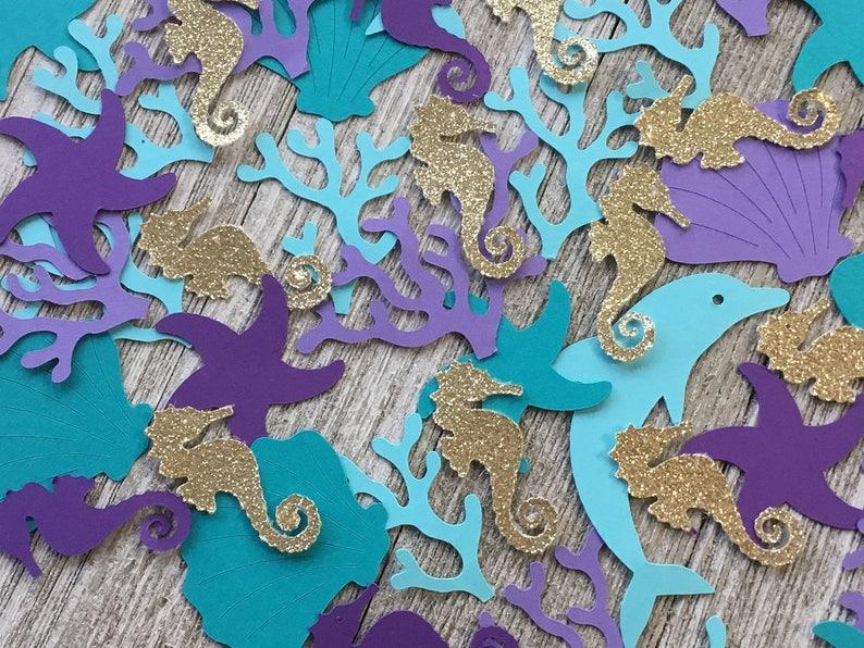 Gold Glitter Seahorse Confetti Dolphin Clam Starfish Coral Under the Sea Confetti Mermaid Confetti Table Scatter