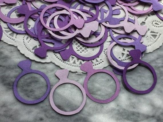 Wedding Party Confetti Purple /& Silver Diamond RingHeart Confetti Bridal Party Decorations Bachelorette Party Decor Bridal Confetti