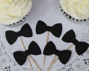Black Bow Tie Cupcake Toppers - Food Picks - Party Picks - Bowtie - Bowties - Tuxedo - Wedding Toppers - Shower Toppers