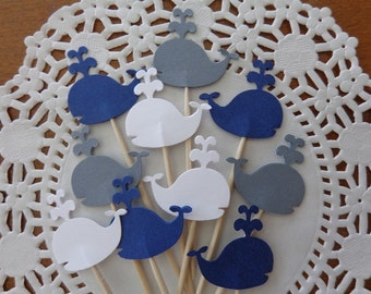 """24 Whale Cupcake Toppers - NEW Larger Size 1.5"""" - Nautical Party Picks - Food Picks - Navy Blue, Grey and White"""