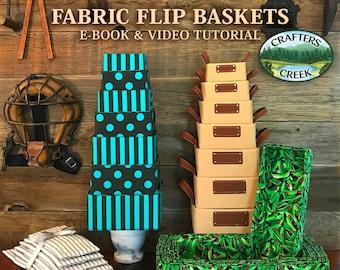 Fabric Flip Basket Pattern and Video Tutorial, 56 sizes, fabric storage bins