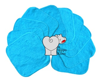 Baby Washcloths Teal, Cloth Wipes, Reusable Wipes, 10 Pack, Facial Cloths, Washable Sanitizing Wipes
