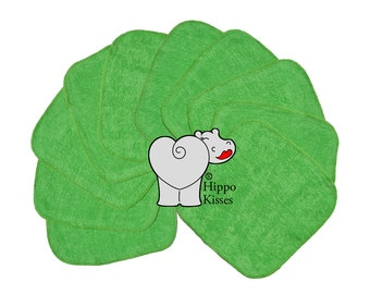 Baby Washcloths Dark Green, Cloth Wipes, Reusable Wipes, 10 Pack, Facial Cloths, Washable Sanitizing Wipes