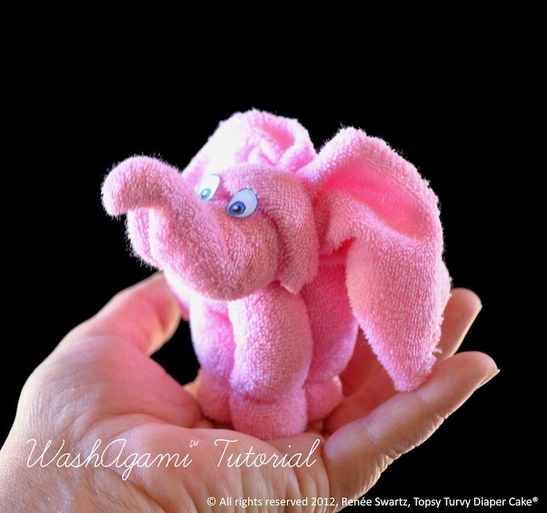 Baby Washcloth Elephant WashAgami ™ Diaper Cake Topper image 0