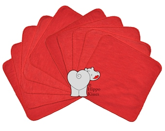 Baby Washcloths Cherry Red 10 Pack, Facial Cloths, Washable Sanitizing Wipes