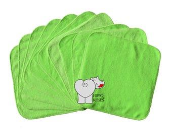 Baby Washcloths (New) Medium Green 10 Pack, Facial Cloths, Washable Sanitizing Wipes