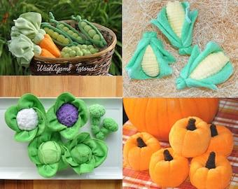 Baby Washcloth Veggies set of 5 WashAgami ™,  Instructional Videos Peas and Carrots Corn Pumpkin Cabbage Cauliflower and Broccoli
