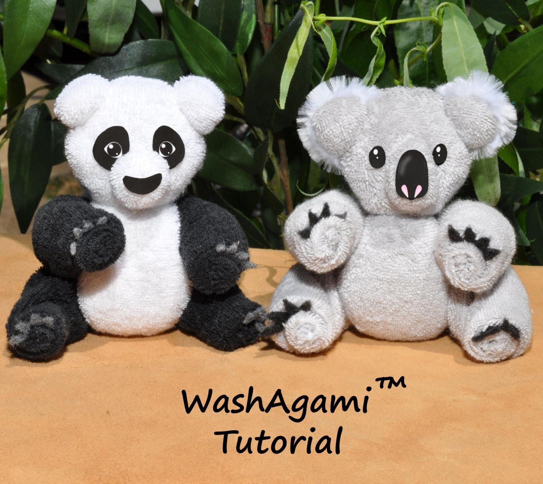 Baby washcloth koala washcloth panda washagami ™ etsy