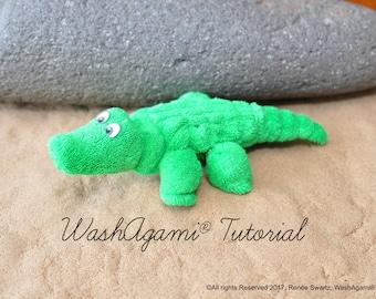 Washcloth Alligator, Baby Washcloth Crocodile , WashAgami ® , Instructional Video