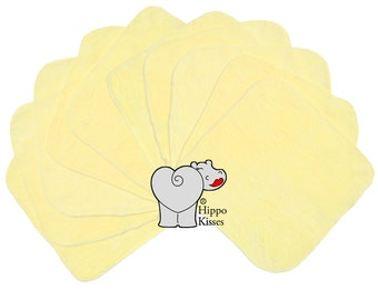 Baby Washcloths Butter Yellow 10 Pack, Facial Cloths, Washable Sanitizing Wipes