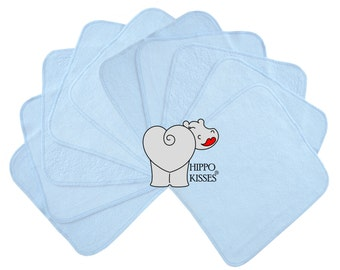 Baby Washcloths Baby Blue, Cloth Wipes, Reusable Wipes, 10 Pack, Facial Cloths, Washable Sanitizing Wipes
