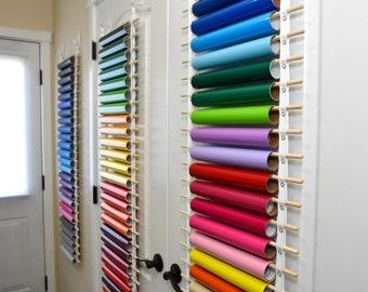 Vinyl Roll Holder, 25 Rolls, Vinyl Roll Storage, Vinyl Roll Organizer, 100% Cotton & Wood Dowels, Choice of Damage Free Hooks