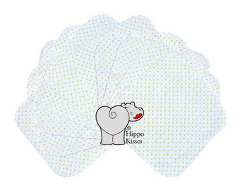 Baby Washcloths Green and Yellow Dots 10 Pack, Facial Cloths, Washable Sanitizing Wipes