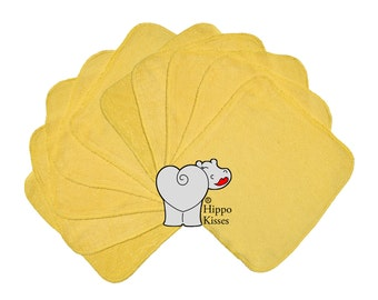 Baby Washcloths Yellow 10 Pack, Facial Cloths, Washable Sanitizing Wipes