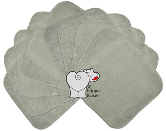 Baby Washcloths Charcoal Grey 10 Pack, Facial Cloths, Washable Sanitizing Wipes