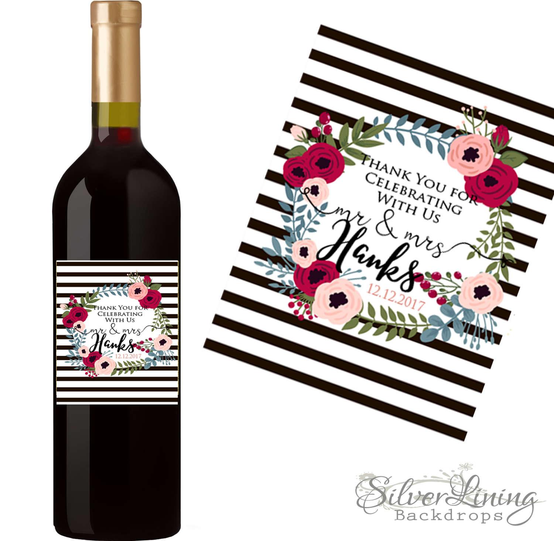 Wedding Wine Label Custom Wine Label Personalized Wine Etsy