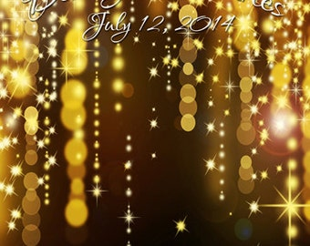 8ft x 8ft CUSTOM Backdrop with Names & Wedding Date for Photo Booth Gold Glitter Falls / Vinyl Photography Backdrop