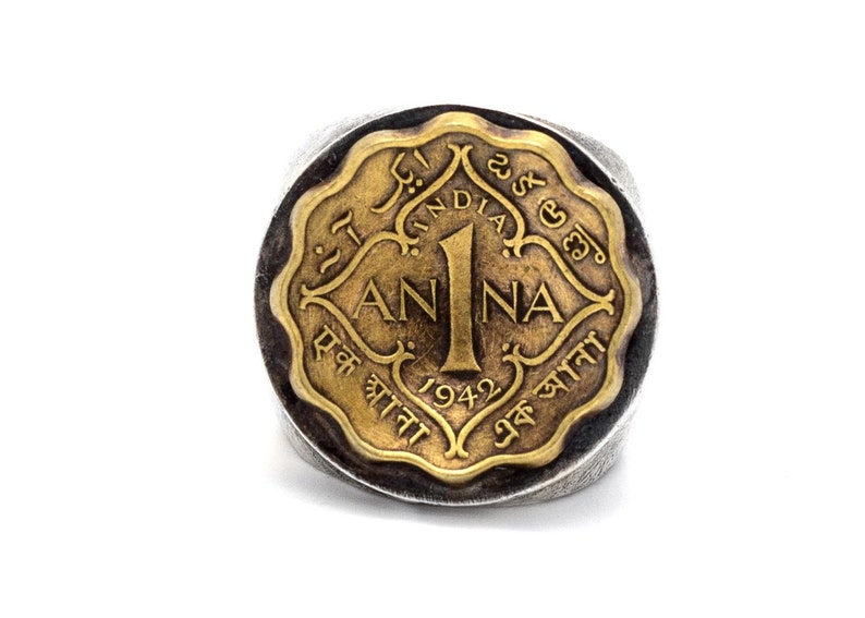 Coin ring with the 1 Anna coin of British India handmade one of a kind -sterling silver coin ring ooak piece