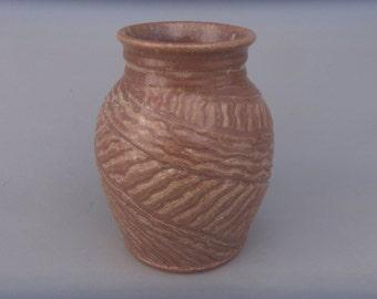 Pottery Vase, Brown Hand Carved Ceramic Flower Vase