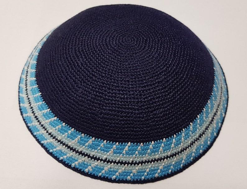 Jewish Kippah Hand Knitted Kippa 18cm Hand Crochet Yarmulke Hand made Kippot Kipa #D1872