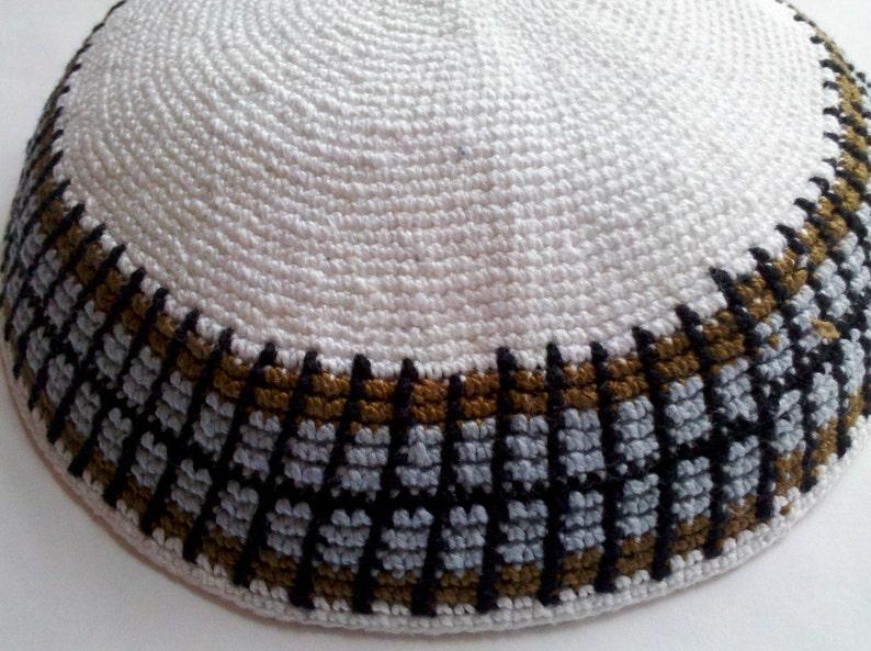 Kippah Jewish Kipa Hand Knit Kippot DMC 18cm Judaica Crochet Yarmulke Hand made Kipa #1890