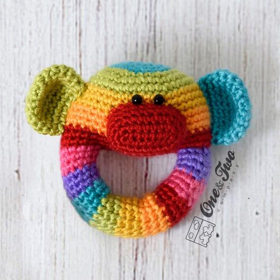 43fe76d41 Rainbow Sock Monkey Rattle PDF Crochet Pattern Instant Download