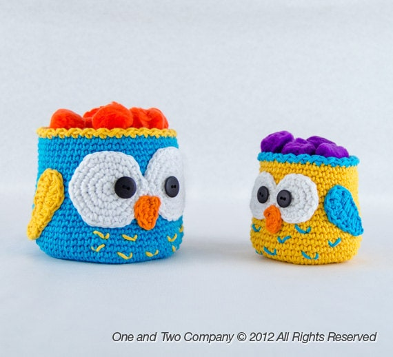 Owl Crochet Baskets 2 Sizes Pdf Crochet Pattern Instant Etsy